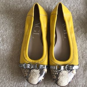 AGL yellow and snake skin flats